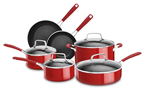 KitchenAid KC2AS10ER 10 Piece Aluminum Nonstick Set, Empire Red, Large (Kitchenaid Nonstick Pan)
