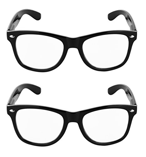SunnyPro Wayfarer Clear Lens Glasses Pack of Two UV 400 Protection (Black 2 - Dollar 25 Glasses