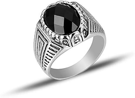 RQZQ Ring Nuevo Anillo de Piedra de Acrílico Geométrico de Plata de La Vendimia Negra para Hombres Joyería de Las Mujeres Anillo Al por Mayor Más Tamaño