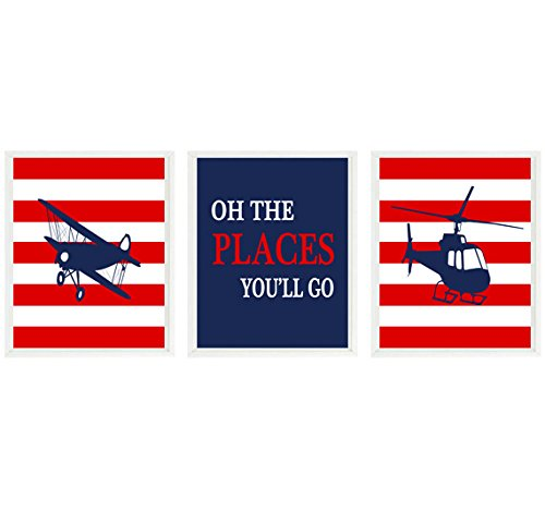 Airplane Nursery Art, Baby Boy Nursery, Oh The Places You'll Go, Helicopter Art, Navy Blue, Red, Plane Wall Art, Boy Room Decor, Adventure ()