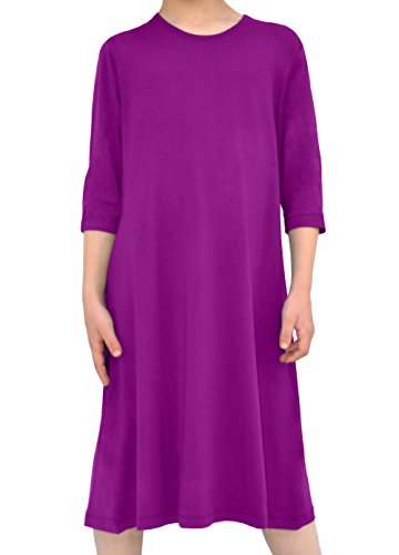 Kosher Casual Kids Girl's Modest Knee Length T-Shirt Dress Closed Neckline With 3/4 Sleeves Large Sparkling Grape (Grapes Kosher)