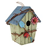 LOVIVER Wooden Outside Hanging Bird House for Small Bird Nature Wood Birdhouse