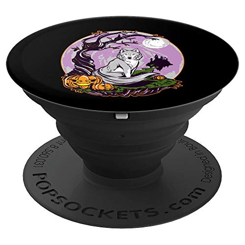Spooky Halloween Wolf Pumpkin Full Moon Scary Night - PopSockets Grip and Stand for Phones and Tablets for $<!--$11.99-->