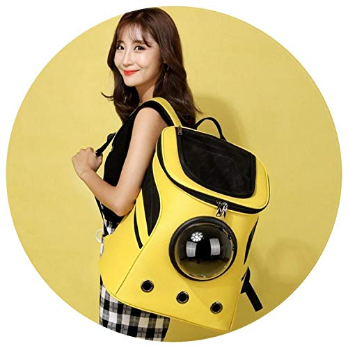 shine-hearty Space Capsule pet Bag cat Puppy with Backpack Breathable Out Convenient Space Bag pet PU Leather Handbag,Black,L ()