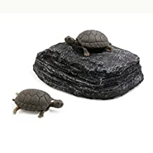 uxcell® Aquarium Landscape Resin Underwater Tortoise Climb Stone Habitat Floating Board Ornament Dark Gray
