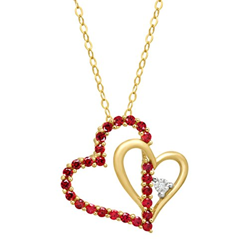 Diamond Heart Necklace Ct 1/2 (1/2 ct Created Ruby Double Heart Pendant Necklace with Diamond in 14K Gold)