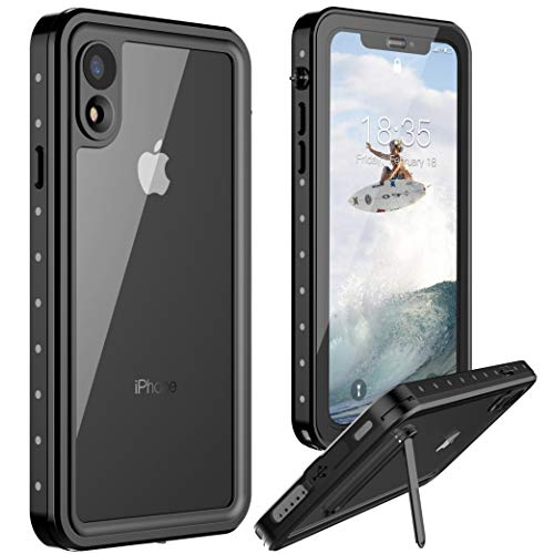 iPhone XR Waterproof Case, Vapesoon iPhone XR Case Waterproof Shockproof Snowproof Clear Slim Case for iPhone XR (6.1 inch) -Black+Crey/Clear (Black/Clear)