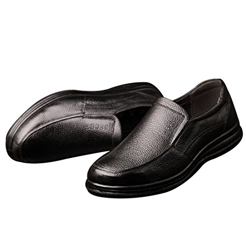 Enerhu Men Slip On Work Shoe Flat Chef Shoes Leather Wear Resistant Oilproof Waterproof Black JNLpPRe