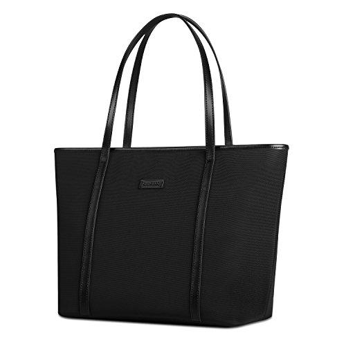 Black Book Bag (CHICECO Basic Medium Travel Tote Shoulder Bag - Wine Red Lining)