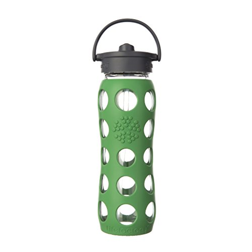 Lifefactory 22-Ounce BPA-Free Glass Water Bottle with Straw Cap and Protective Silicone Sleeve, Green