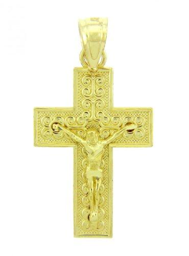 10 ct 471/1000 Or Jaune Crucifix - Culte Crucifix Pendentif