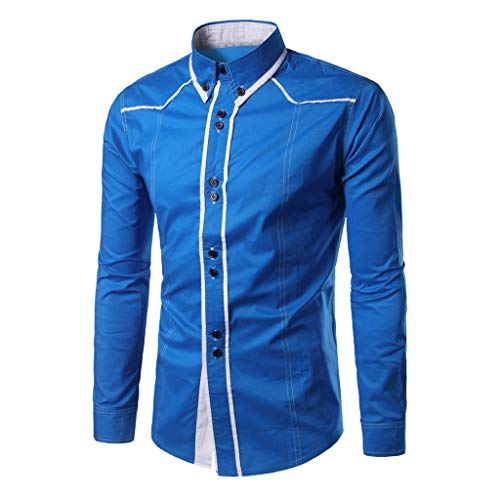 Dress Shirt Premium Casual Inner Contrast Fashion Slim Solid Button Turn-Down Collar Long Sleeve T-Shirt Tops Men (L,Blue)