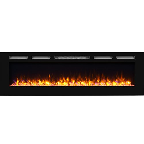 "PuraFlame Alice 68"" Recessed Electric Fireplace, Wall Mounte"