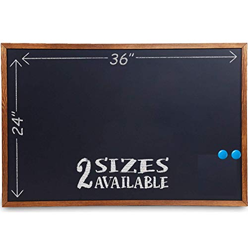Wood Framed Chalkboard - Large Premium Magnetic 36 x 24 Rustic Chalk Board, Great with Regular or Liquid Chalk Markers, Nonporous Wall Hanging Blackboard Sign ()
