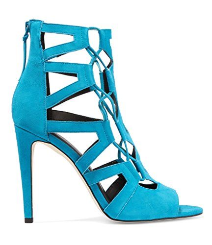 Kolnoo Cut 10cm Peep Donna Toe Suede tacco Sandali Jalerie Moda blu alto out Faux con qfzXqr
