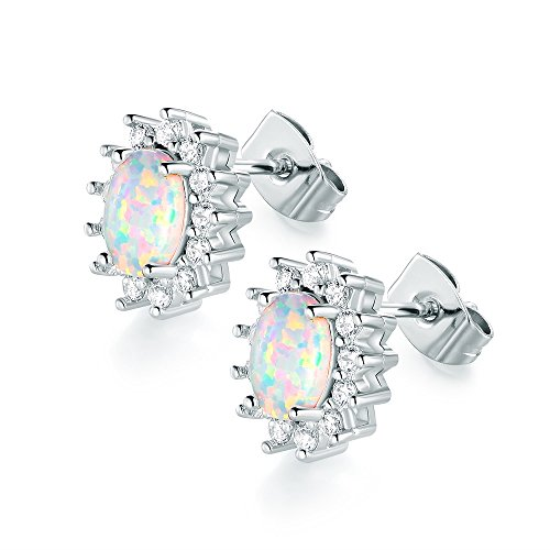 VOLUKA 18K White Gold Plated 5 x 7mm Oval Shape Opal Stud Earrings with Cubic Zirconia Halo for Women