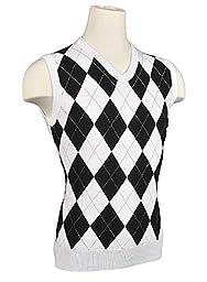 Men\'s Argyle Sweater Golf Vest - White/Black/Grey Overstitch (XLarge)