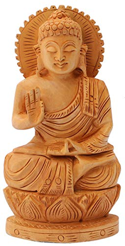 (Crafkart Today Sale on Lord Buddha Statue Sale on Hand Carved Single Piece Natural Wood Buddha Sculpture Figurine from India 'OM MANI Padme HUM')
