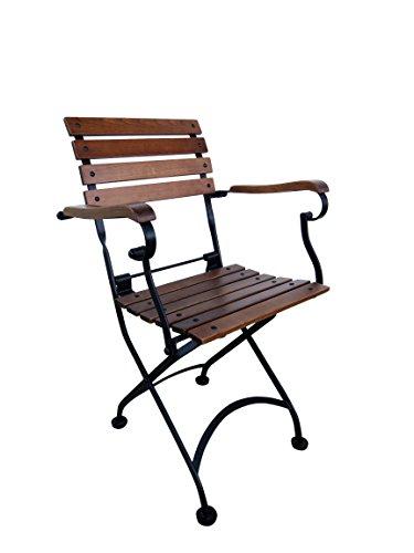 Bistro Slat (Mobel Designhaus French Café Bistro Folding Armchair, Jet Black Frame, European Chestnut Wood Slats with Walnut Stain (Pack of 2))