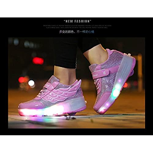 a29a4ac02db57 low-cost Christmas Women Girl LED Light Up Shoes Wheels Roller Shoes ...