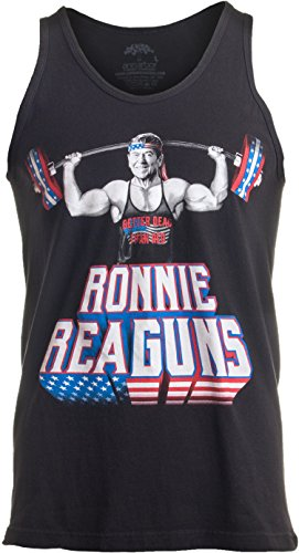 Funny Workout T-shirt (Ann Arbor T-shirt Co. Ronnie ReaGUNS | Funny Ronald Reagan Weight Lifting Workout Merica USA Tank Top-(Adult,L))