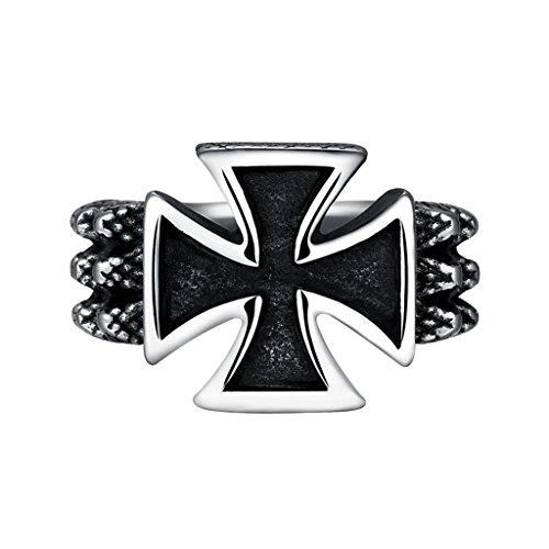 Focus Jewel Men's Punk Gothic Rock Style Cross Ring Snake Bond Twisted Wire Textured Raised Size US 10