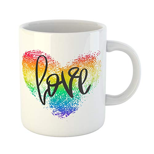 Emvency 11 Ounces Coffee Mug Conceptual Hand Lettering and Fingerprint Heart Black Phrase Love Lgbt Rainbow Thumbprint White Romantic for Valentines White Ceramic Glossy Tea Cup With Large C-handle