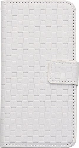PLATA For iPhone6 iPhone6s 4.7inch Japanese Ichimatsu pattern Check Block Stand Case Pouch PU Leather Wallet Case Protective Cover iPhone 6 6s [ white ] (Quilted Blocks)