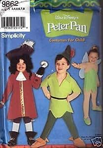 Simplicity Disney Peter Pan Costume Sewing Pattern 9862. Kids Sizes 3;4;5;6;7;8 Captain Hook; Peter Pan; & Tinker Bell.
