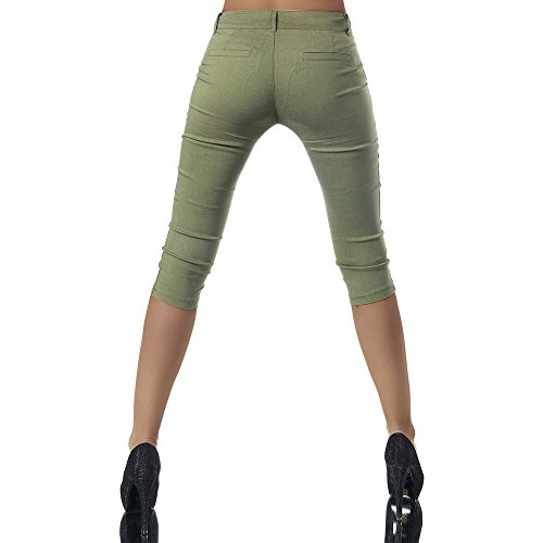 estivi da con donna Pantalone Capri donna Verde 3 estivo da Pantaloncini bottone hellomiko 4 n5Fw8qYn
