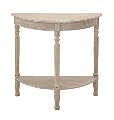 "Deco 79 96329 Wood 1/2 Round Console Table, 32"" x 32"", Taupe"