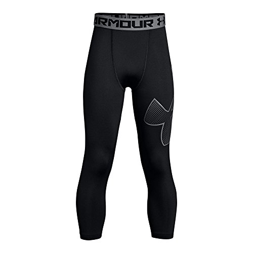 Under Armour Boys' HeatGear Armour Logo ¾ Leggings, Black (003)/Black, Youth - Sleeve Football 3/4