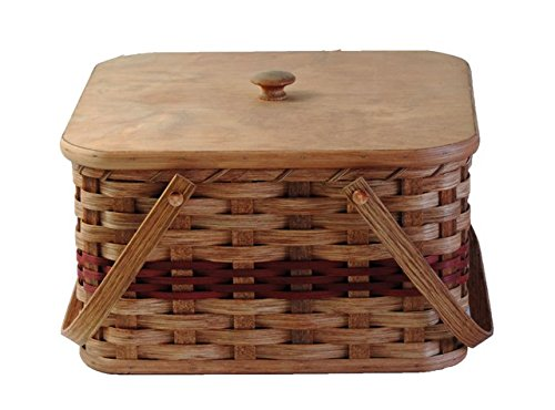 Amish Handmade Large Square Double Pie Carrier Basket w/Inside Tray, Lid, and Two Swinging Carrier Handles IN BLUE