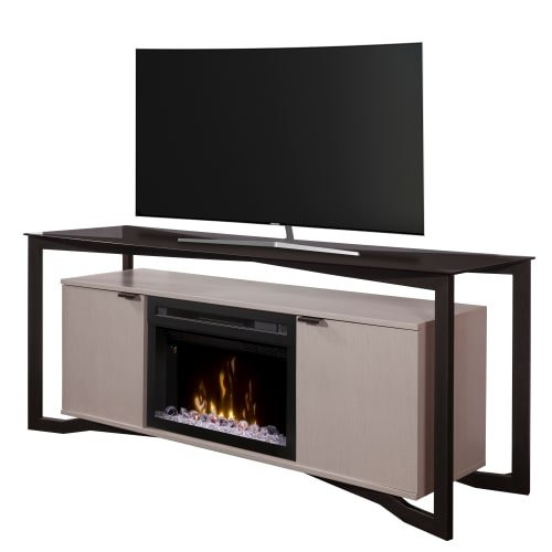 Dimplex Christian 70'' media console electric fireplace with Multi Fire XD glass ember bed firebox in silver wave by Dimplex