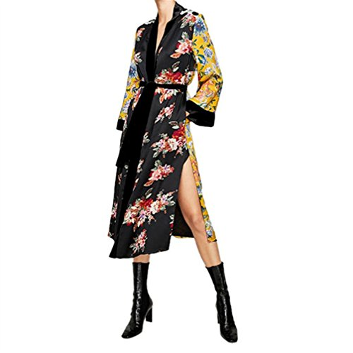 - WuyiMC Women Open Front Floral Print Long Kimono Cardigan Coat Beach Cover Up (XL, Yellow)