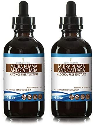 Muira Puama and Catuaba Alcohol-Free Liquid Extract Ptychopetalum Olacoides and Erythroxylum Catuaba Dried Bark Tincture Supplement 2×4 FL OZ