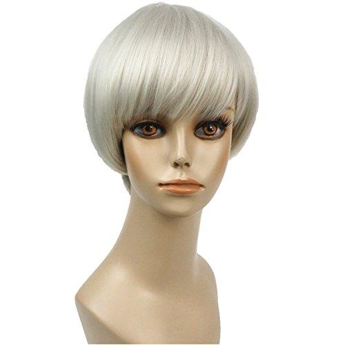 Wiginway Short Straight Gray White Wigs Bob Wig Mushroom Wigs Syntheic Wigs 6 Inch