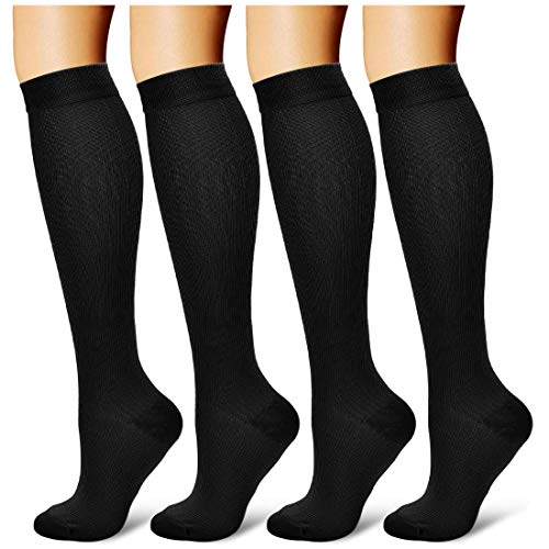 4 Pairs Compression Socks for Men & Women 20-30 mmHg Medical Graduated Compression Stockings for Sports Running Nurses Shin Splints Diabetic Flight Travel Pregnancy (Black, L/XL)