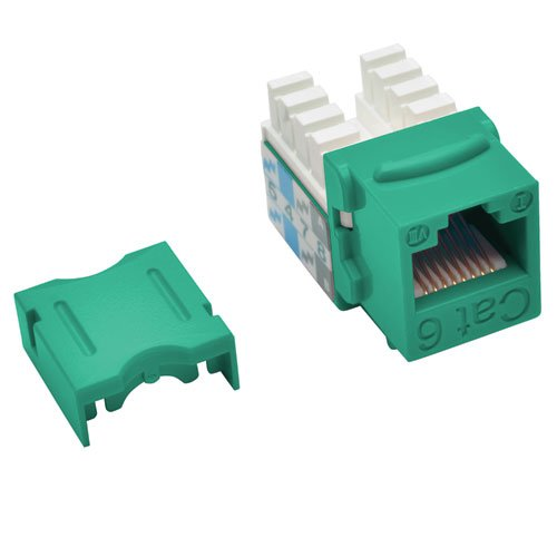 TRIPP LITE Cat6/Cat5e 110 Style Punch Down Keystone Jack Green TAA GSA (N238-001-GN) (Green 568b Channel)