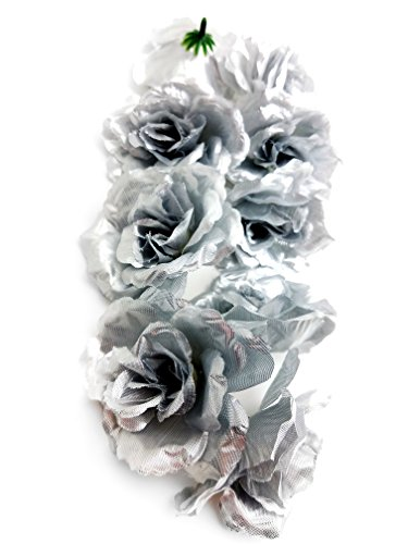Ifavor123 Bulk 96pcs Pack of Artificial Flowers Roses for DIY Wedding Quinceañera Formal Event Bouquets Centerpieces Party Table Decorations (Shiny Silver)