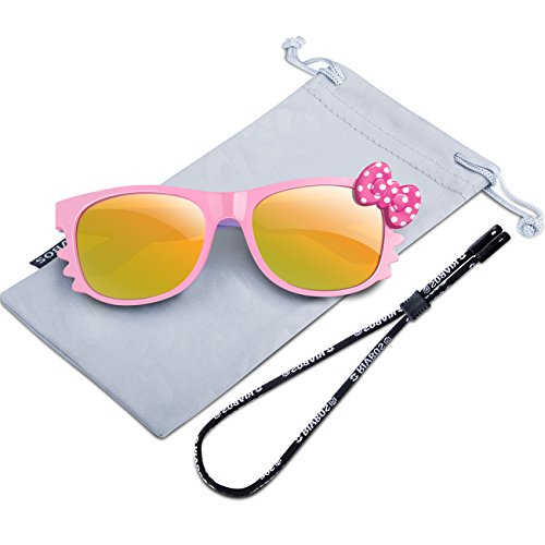 RIVBOS Rubber Kids Polarized Sunglasses With Strap Glasses for Boys Girls Baby and Children Age 3-10 RBK002 (Pink Mirror Lens)