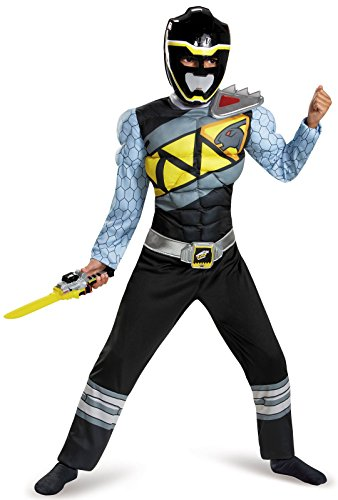 Disguise Black Ranger Dino Charge Classic Muscle Costume, Small (4-6) (Kids Power Ranger Costume)