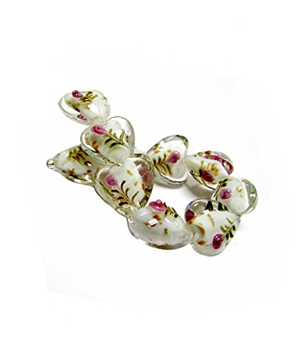 Linpeng Flower Design Lampwork Heart Glass Bead Strand ()