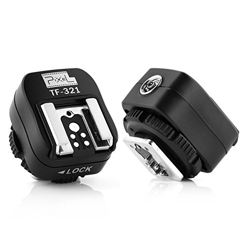 - Pixel e-TTL Flash Hot Shoe Adapter with Extra PC Sync Port for Canon DSLRs and Flashguns