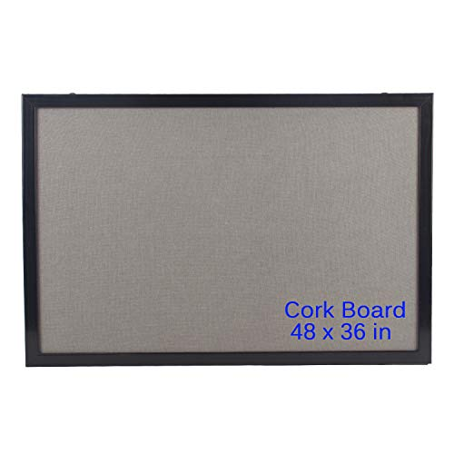Bulletin Board 36 x 48 Inch, 100% Wood Framed Canvas Cork Board with Grey Fabric, Wall Mounted Notice Board for Home Office School