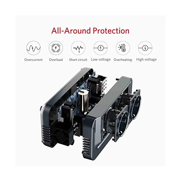 BESTEK 200W KFZ Spannungswandler 12V auf 230V Wechselrichter mit 2 Steckdosen und 4 USB Autoladegerät inkl…