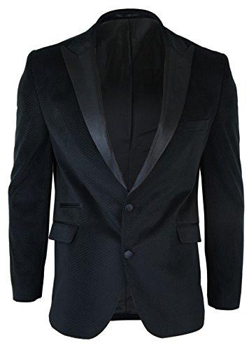 CB Mens Slim Fit 2 Button Velvet Blazer Tuxedo Dinner Jacket Black Satin Smart Casual black ,Black,38