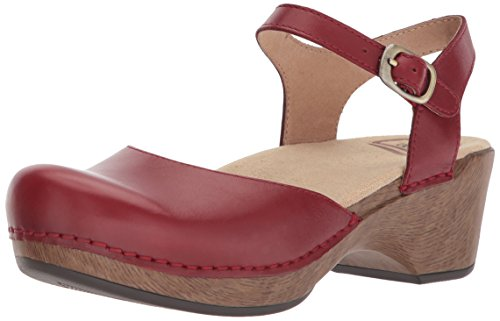 Dansko Women's Sam Sandal, Red Full Grain, 38 M EU (7.5-8 US) by Dansko
