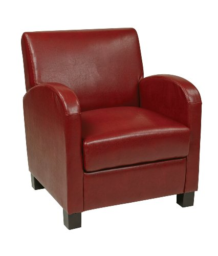 Office Star Metro Club Chair with Ottoman in Eco Leather, Crimson (Upholstery Living Room Ottoman)