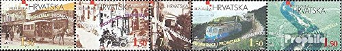 Croatia 485-489 Five Strips (Complete.Issue.) 1998 Transport Infrastructure Croatia (Stamps for Collectors) Trains/Railway